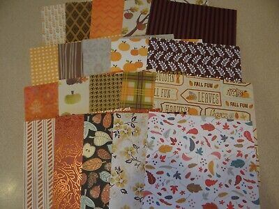Fall Scrapbook Paper (FALL THANKSGIVING SCRAPBOOK PAPER 6X6 CARDS LEAVES APPLES)