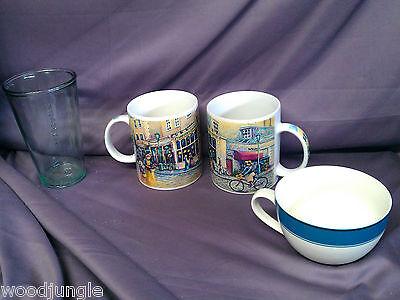 3 STARBUCKS COFFEE MUGS Lens BARISTA 2001 HOLIDAY 2006 TUMBLER MEASURING LATTE