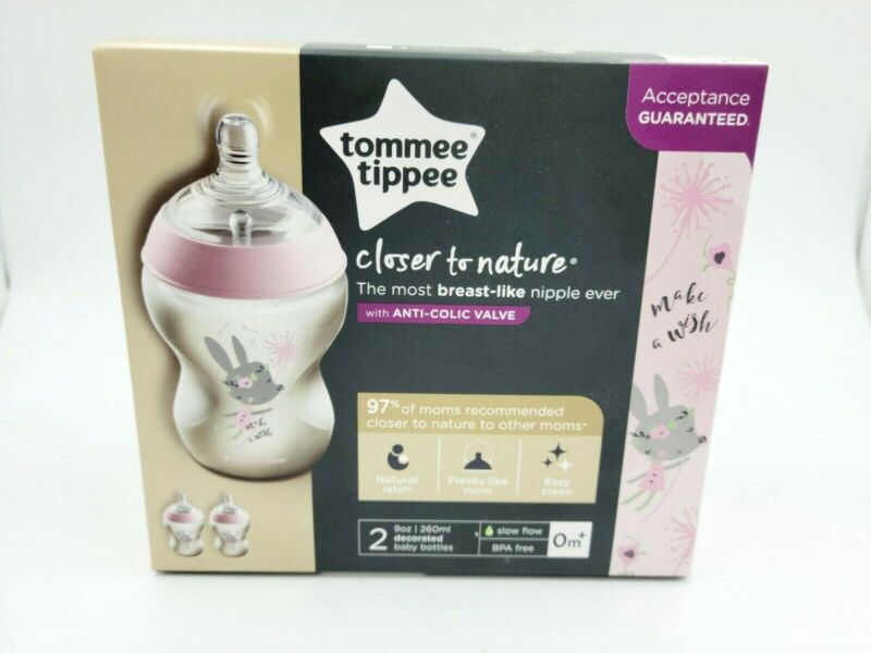 2 X Tommee Tippee Bottles Girls Decorated 9 Ounce