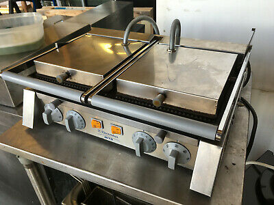 Electrolux Dgr20 Double Commercial Panini Press Cast Iron Grooved Plates - Used
