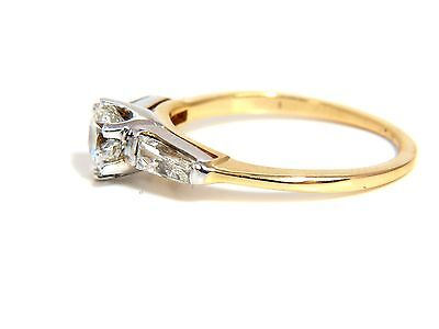 GIA CERTIFIED .81CT ROUND CUT DIAMOND RING BAGUETTES 14KT H/SI+ 7