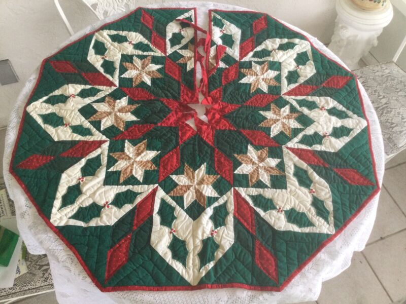 """39"""" Hand Quilted Octagon Christmas Tree Skirt Star & Holly  Made in India"""