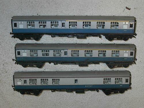 Tri-ang/Hornby Blue British Rail 2  R-727 Composite Coaches & 1 R-729 Buffet Car