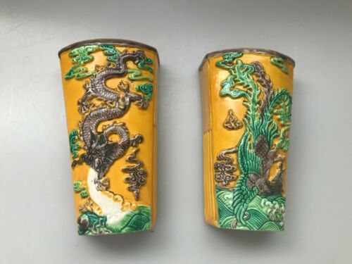 2 CHINESE POTTERY SIGNED WALL POCKET VASES FLOWERS DRAGON BIRD YELLOW GREEN