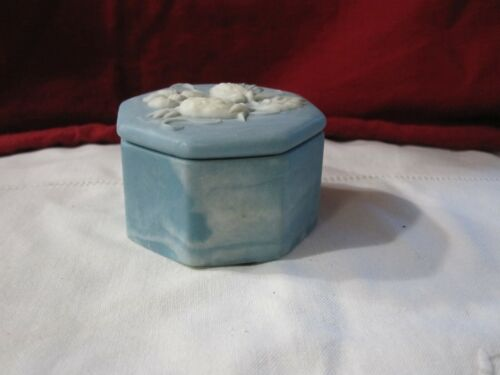 Blue Incolay Soapstone Trinket Box Strawberry Lid, Octagon