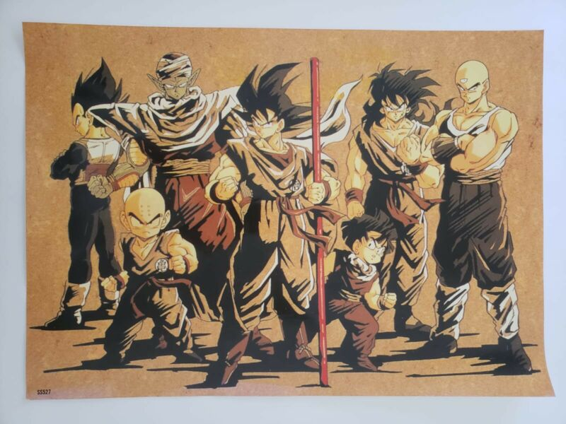 "Dragon Ball Z Japanese Manga Anime art Poster Laminated SS527 20.8"" x 14.8"" VTG"