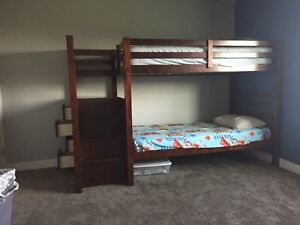 Solid twin bunk bed with stairs