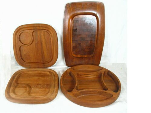 4 Pc Mid Century Danish Modern Dansk Teak Divided Tray & Cheese/Dip Trays