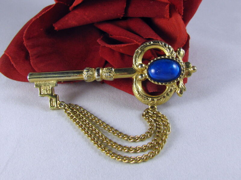 Vintage Key Gold tone Blue Cabochon Pin  Brooch FERAL  CAT RESCUE
