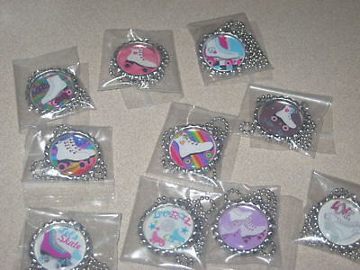 roller skates BottleCap Necklaces  great birthday party bag favors lot of 20