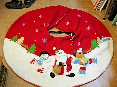 J. C. Penney Home Collection Plush 3D Santa Christmas Tree Skirt Red/White 50""