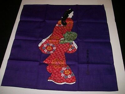"""Asian Artwork on Cotton""""Lady  in Red"""" Signed-7 1/2"""" x 8"""""""