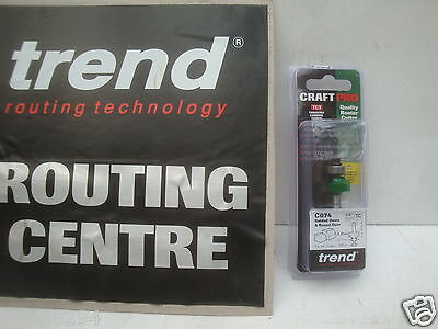 "TREND C074 TCT 3.2MM X 9.5MM ROUNDING OVER ROUTER CUTTER BIT 1/4"" SHANK"