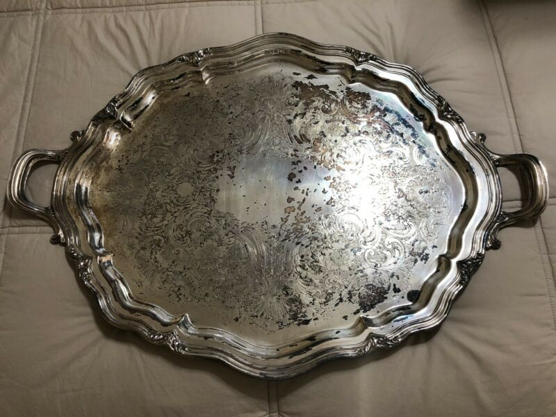 """Reed and Barton """"Winthrop"""" Silver Plate Footed Waiter Tray"""