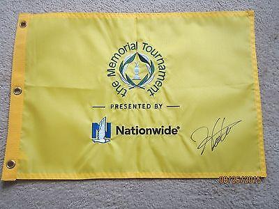 HIDEKI MATSUYAMA SIGNED MEMORIAL TOURNAMENT GOLF FLAG  2014 MASTERS PGA 2016