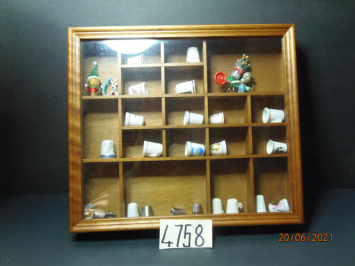 Lot of 26 Thimbles bone china, metal, glass woodsetton collectables in wood case