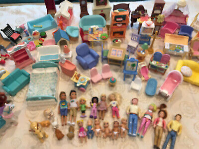 Huge Lot Fisher Price Loving Family House Furniture Family Pets Horses Food ETC!