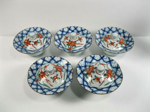 set Japanese tea bowl  pottery Yamato rice covered small bowls blue red ceramic