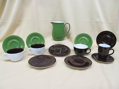 13pc Kahla PRONTO COLORE Green, Brown, White Coffee Latte Cup Saucer Pitcher Set