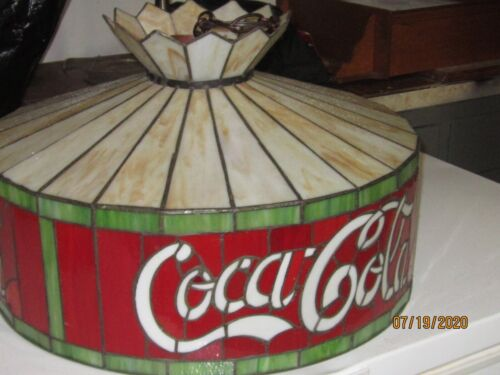 VINTAGE COCA COLA 20 INCH STAINED GLASS HANGING LAMP