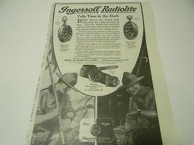 Vintage 1919 Ingersoll Radiolite Pocket Watch Wrist Watch Man Cave Print Ad 5E3