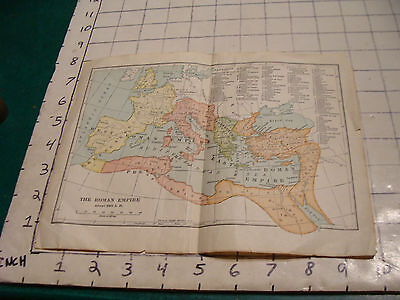 vintage small undated map of THE ROMAN EMPIRE in about 350AD, light wear