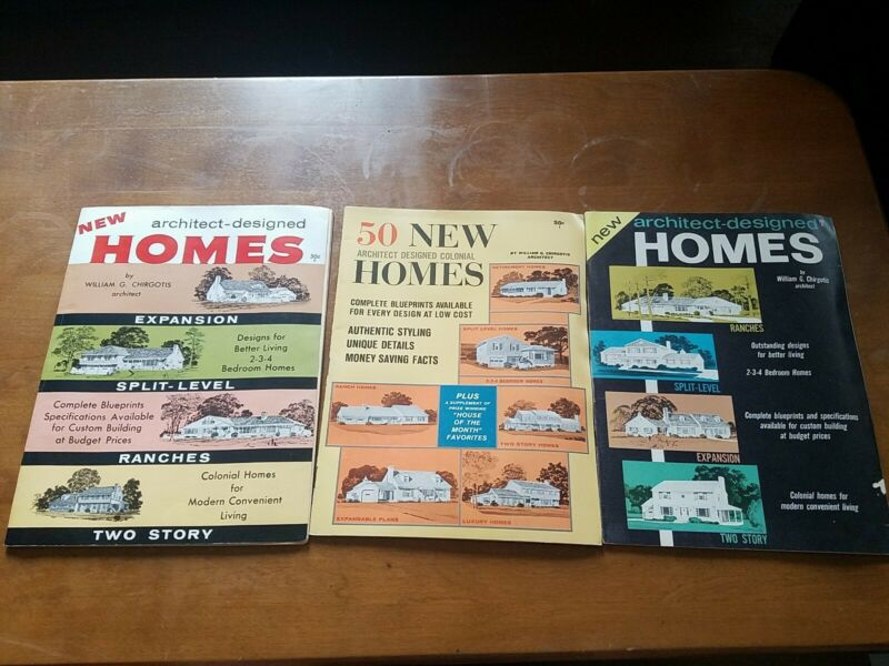 Lot 3 New Homes Vintage MCM Mid Century Modern Architectural Magazines 60s plans