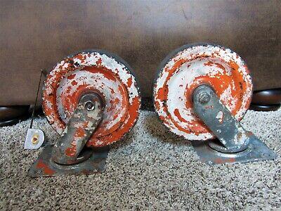 Big Pair Albion 7 12 Inch Swivel Cart Wheels Industrial Casters Vintage Steel
