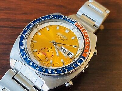 Vintage SEIKO Automatic Chronograph 6139-6002 Pepsi Pogue Engl. Arabic Bracelet