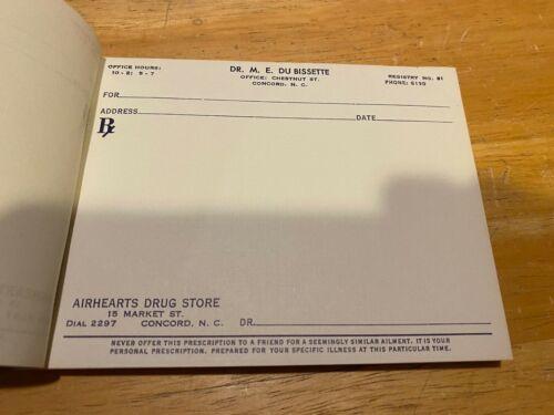 Vintage Prescription Pad – Collector's Item – Dr M.E. Du Bissette – Airhearts's