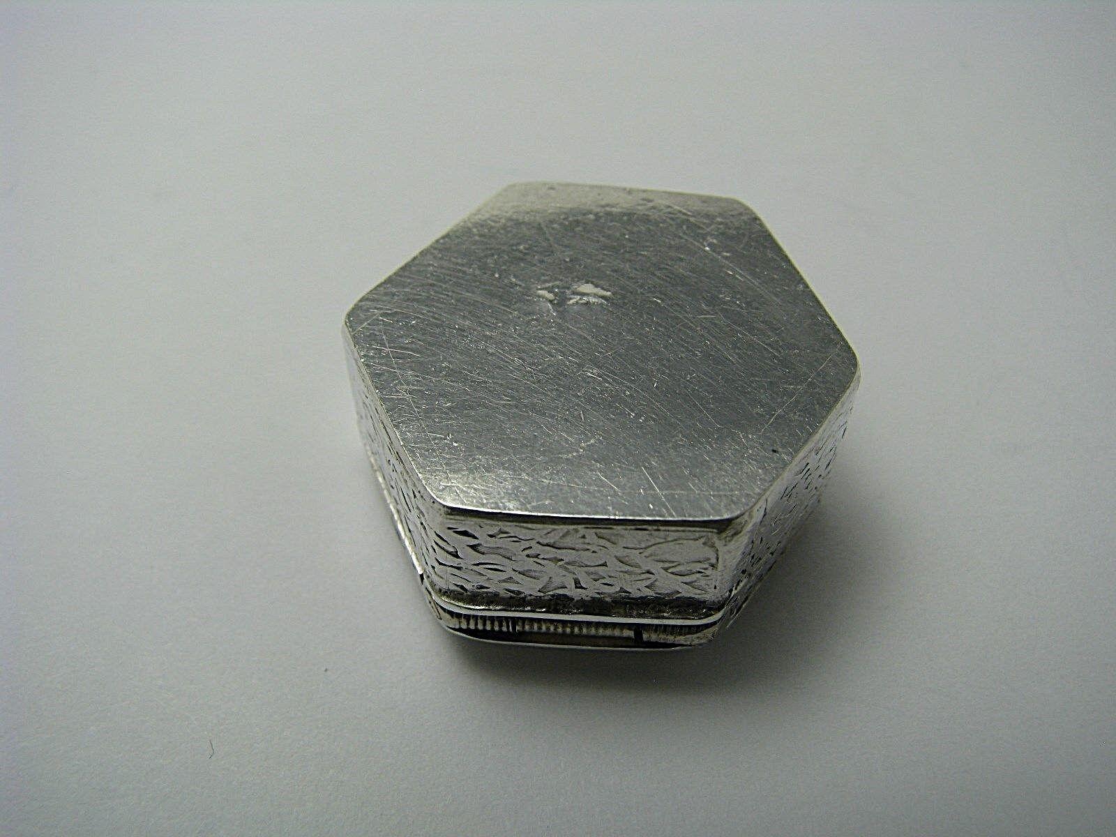 ANTIQUE SILVER PILL BOX PILLBOX NIELLO ENAMEL OPIUM BOX 900 Silver Ca1900s Rare  - $175.00