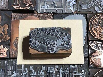 Antique Vtg Wood Metal Wagon Letterpress Print Type Cut Ornament Block