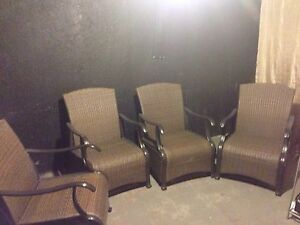 Brown, grey patio chairs