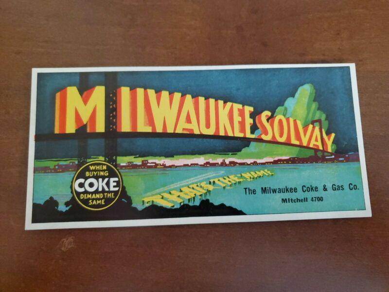 Vintage MILWAUKEE SOLVAY COKE & GAS CO Desk Ink Blotter
