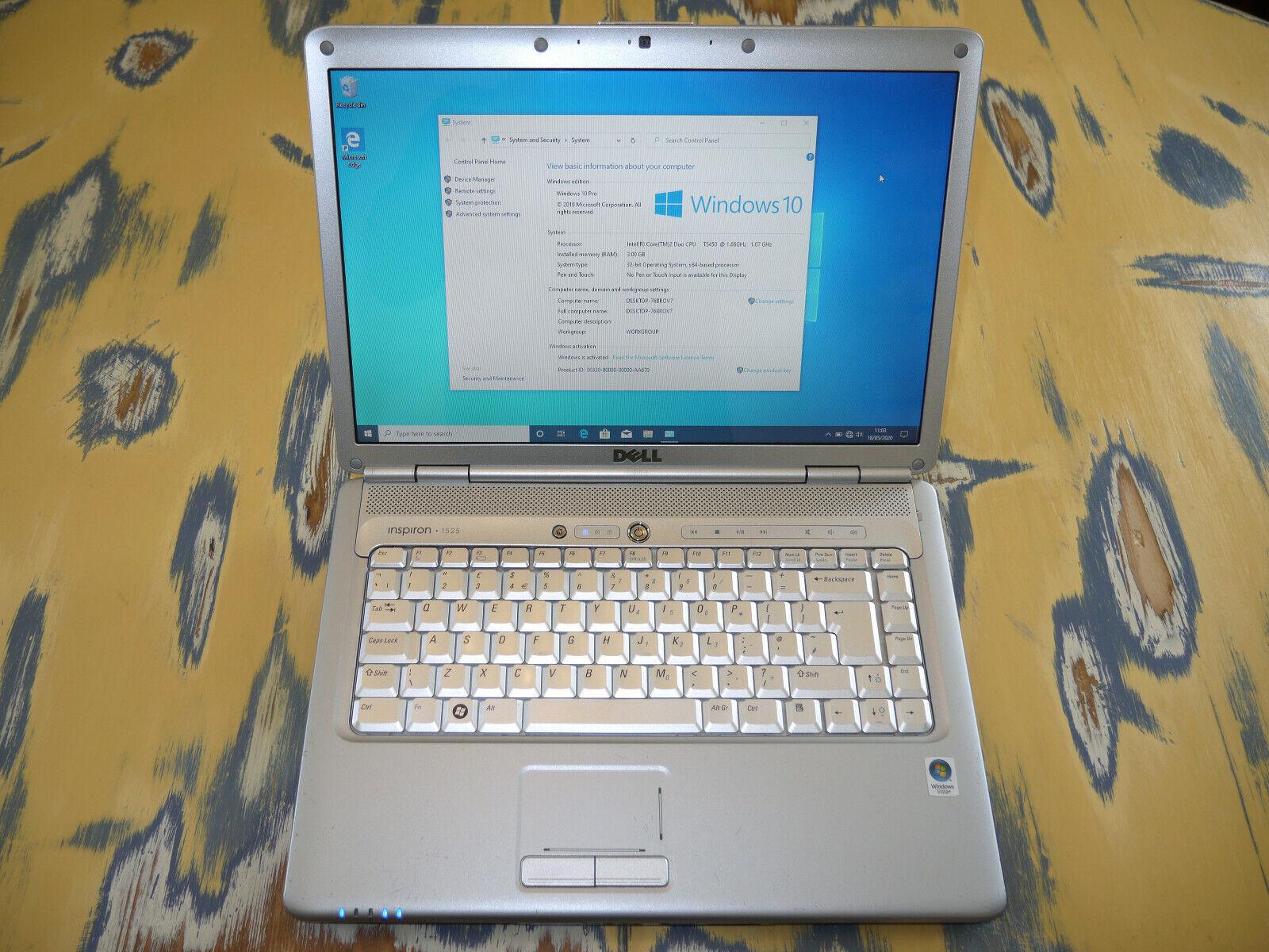 "Laptop Windows - Dell Inspiron 1525 Laptop 15.4"" Core 2 Duo 1.66 GHz 3GB RAM 240GB HDD Windows 10"