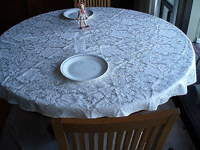 """WHITE ROUND TABLE CLOTH FOR SMALL TABLE - 48"""" DIAMITER"""