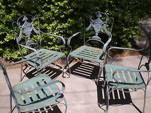 ** OUTDOOR GARDEN SETTING - RENAISSANCE STYLE  CHAIRS - STEEL ** Norman Park Brisbane South East Preview