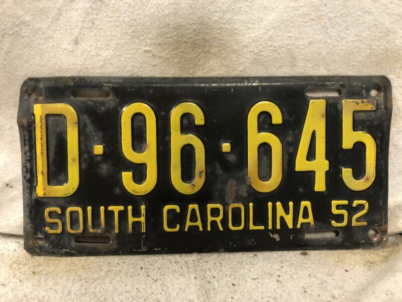 Vintage 1952 South Carolina License Plate