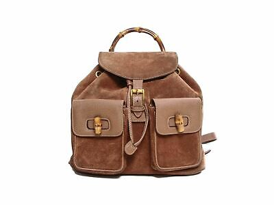 Authentic Gucci Vintage Brown Leather & suede Bamboo MM Backpack