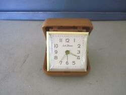 Vintage Seth Thomas Travel Alarm Clock in a Small Plastic Folding Case