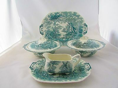 2 x TUREENS ,LARGE PLATTER, SAUCE BOAT & PLATE WITH RIVER SCENES