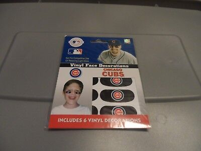 NFL CHICAGO CUBS TEAM VINYL FACE DECORATIONS 6 PACK (3 pairs) Brand New  - Chicago Decorations