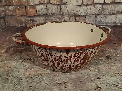 Vintage Retro Marble Effect French Enamel Washing Bowl Garden Planter Plant