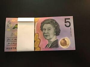 New Australian $5 AA Serial Bank Notes ($260) Mosman Mosman Area Preview
