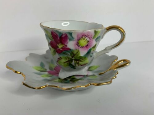 Mini Floral Tea Cup & Leaf Shaped Saucer Trimmed in Gold, Made in Japan