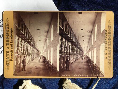 crime prison art 1870s Clinton Prison System with vintage Stereoview Photograph