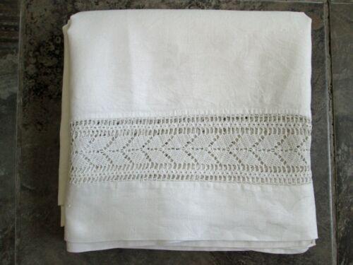 VTG 100% Linen Square Tablecloth Damask Pansy 70x72 White Crotchet Sides Edges