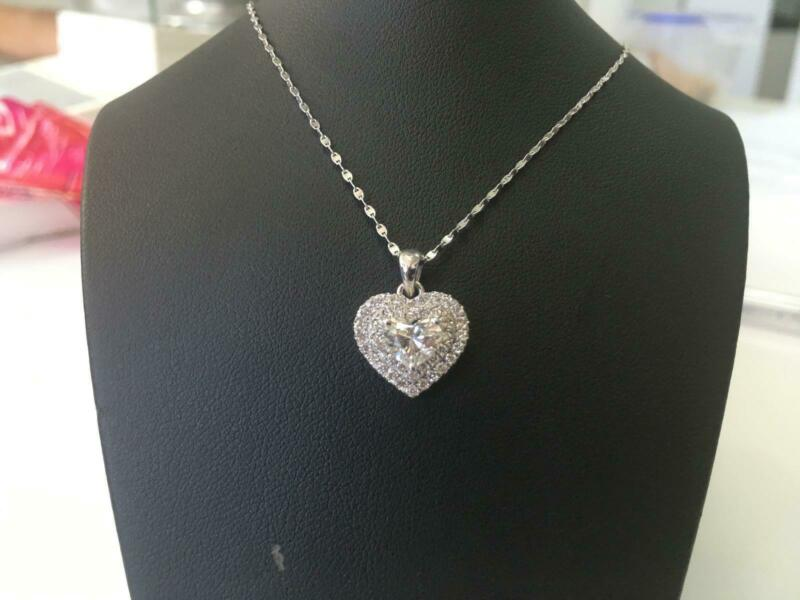 Heart Diamond Necklace Natural 1.05 Ct Solitaire & Accents 14 Kt White Gold