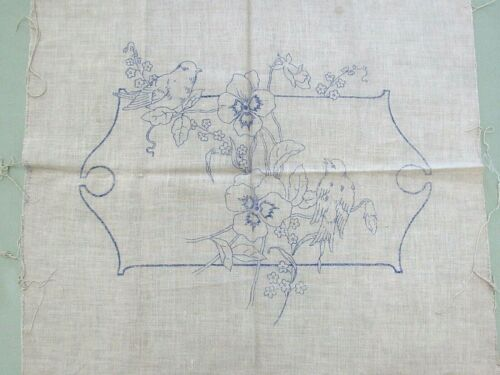 Vtg Stamped Linen PILLOW Front To Embroider & Sew - Songbirds and Garden Flowers