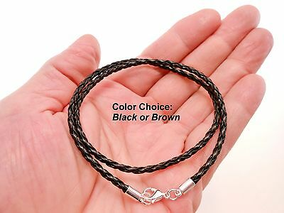 Black Braided 3mm Leather Cord Surfer Necklace with Lobster Clasp -Unisex